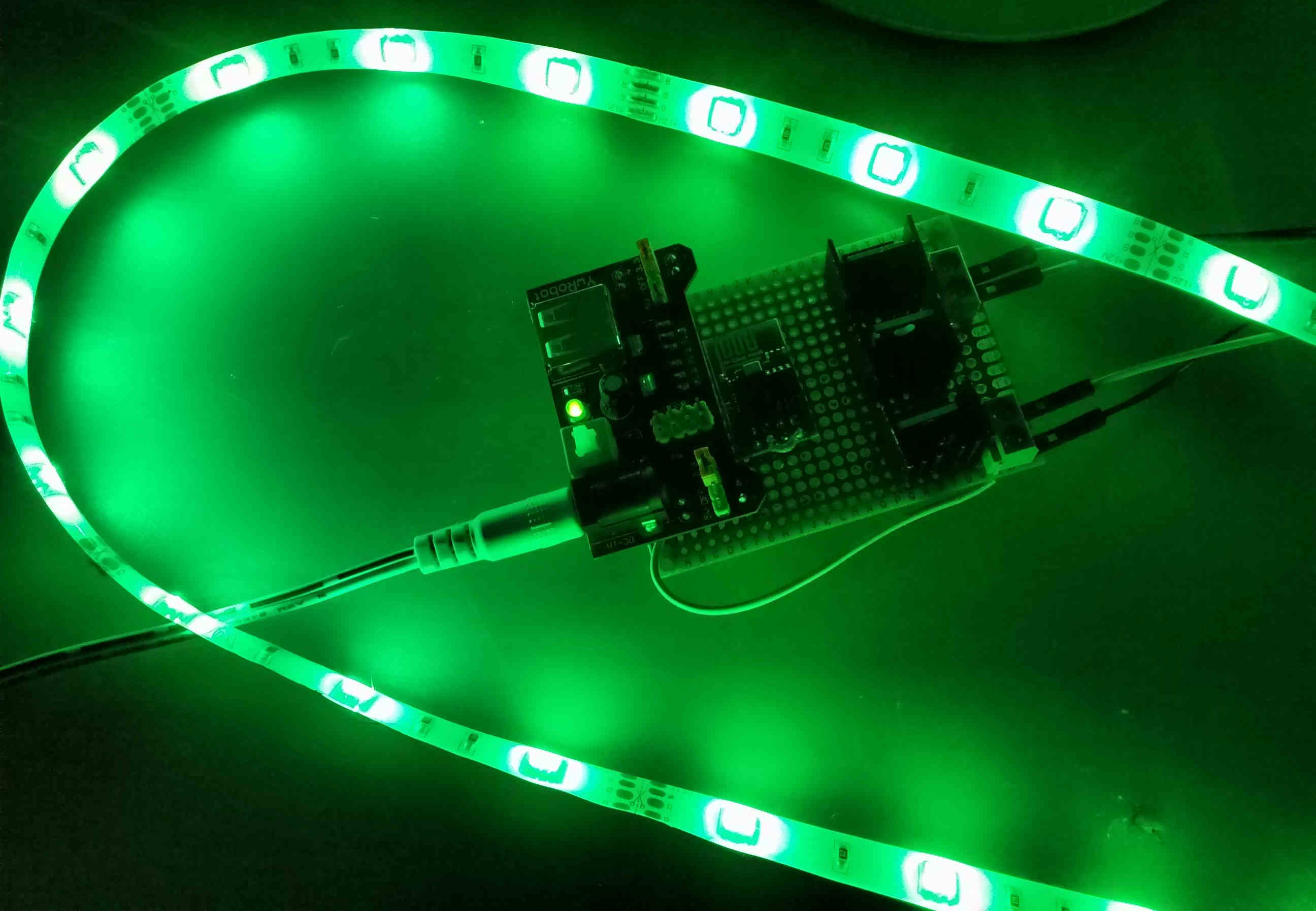 Glowing led strip around controller